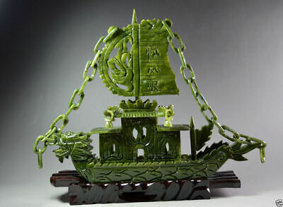 Exquisite Chinese 100%Natural Jade Hand Carved Dragon Incense statue Dragon Ship