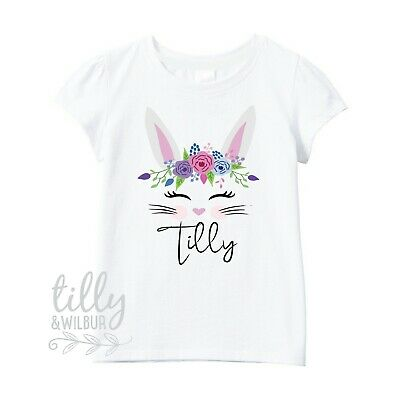 Floral Bunny Easter T-Shirt For Girls, Personalised Girls Easter T-Shirt, Easter