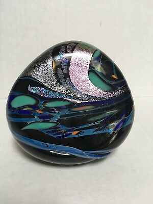 Rollin Karg Art Glass Paperweight Dichroic Iridescent Signed Abstract