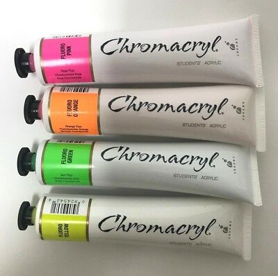 Chromacryl FLURO PACK STUDENTS ACRYLIC CRAFT PAINT Waterbased Non Toxic 75ml 4Pc