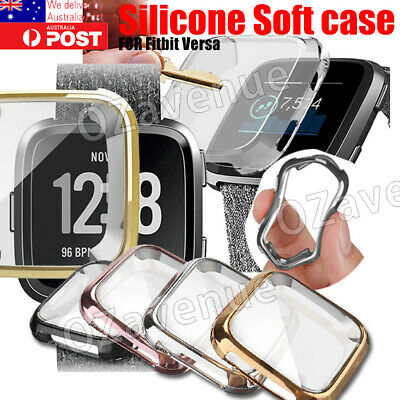 For Fitbit Versa Silicone TPU Shell Case Screen Protector Frame Cover 2019