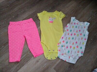 NWT BABY GIRL CARTERS 3pc RUFFLED CUPCAKE OUTFIT SIZE 6 MONTHS