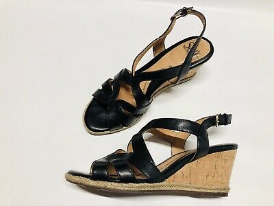 ded965f45bbc SOFFT ORDELIA WOMEN S Pewter Leather Slingback Wedge Heels Sandals ...