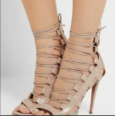 bbf960f00f36d AQUAZZURA AMAZON NUDE leather high heels strappy peep toe booties ...