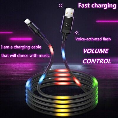 LED sound Control Flash Charging Cable 2.1A Fast charging Data Sync TPE Weaving