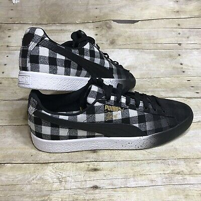 Puma Clyde White Buffalo Plaid Sneakers Men s Lifestyle Shoes Size 10.5 f34e1627b