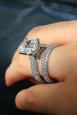 Certified 3.30Ct White Cushion Diamond 14K White Gold Engagement Bridal Set Ring