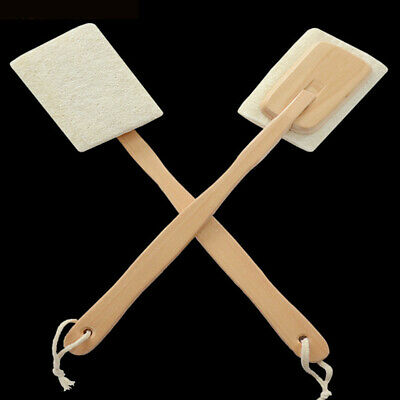 Bath Loofah Sponge Body Shower Natural Cleaning Wood Handles Back Scrubber
