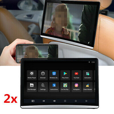"""2x 12.5"""" 1080P Android 8.1 Car Back Seat Headrest Monitor HDMI Wifi Blueteeth"""