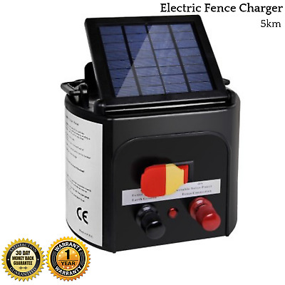 Electric Fence Charger 5km Best 6V Portable Solar Powered Energiser Giantz New
