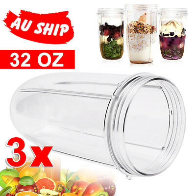 3X 32 Oz NUTRIBULLET COLOSSAL Clear LARGE TALL CUP fits Nutri Bullet 600 & 900W
