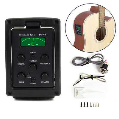 Acoustic Guitar Piezo Transducer Pickup Under Saddle Preamp EQ Tuner LCD Display