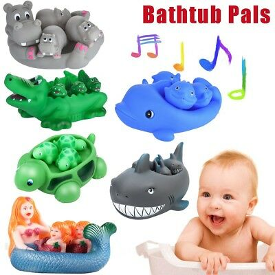Shrilling Rubber Cute Fish Animal Family Bathtub Pals Floating Bath Tub Toy AU