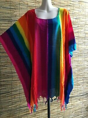 Lot of 5 rayon fringed hip length caftans.Rainbow.One ezi fit.Cool.Holiday.