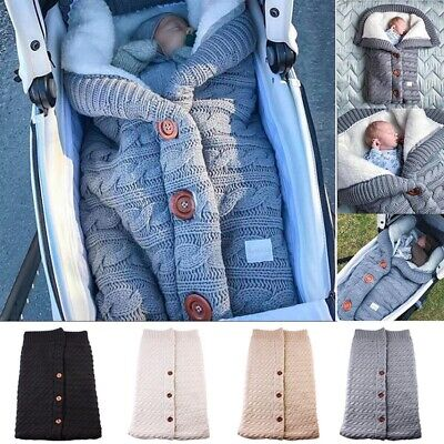 Infant Button Blanket Knitted Crochet Winter Warm Swaddle Wrap Sleeping Bag AU