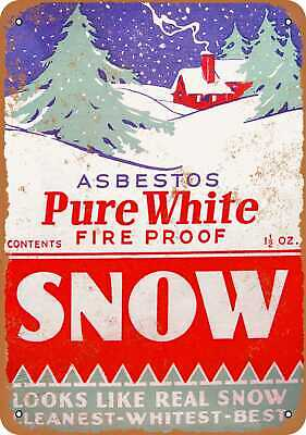Metal Sign - Pure White Asbestos Christmas Snow - Vintage Look Reproduction