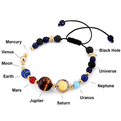 Universe Planets Beads Bangles Bracelets Jewelry Natural Solar System Energy
