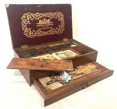 Victorian Antique Windsor & Newton Watercolour Painting Box Campaign