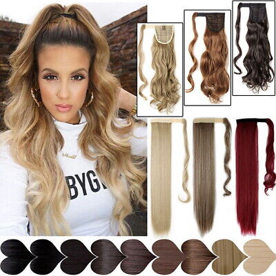 One Piece Natural Real Human Hair Wrap Around Ponytail Clip In Hair Extensions