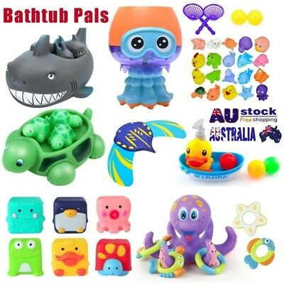 Shrilling Rubber Cute animals Family Bathtub Pals Floating Bath Tub Toy For Kids