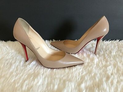 a343e1ff1b63 CHRISTIAN LOUBOUTIN APOSTROPHY Pointed Red-Sole Pump Nude Size 37 ...