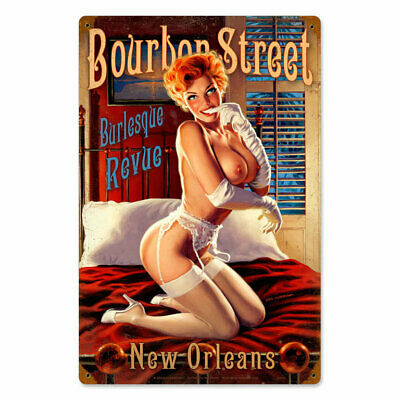 Bourbon Street Burlesque Revue Pin Up Girl Retro Vintage Sign Blechschild Schild