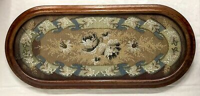 Stunning Antique Victorian Bead Work And Wool Stand With Floral Design Ebonised