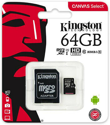 Micro Sd Kingston 64Gb Classe 10 Sdcs/64Gb + Adattatore Sd