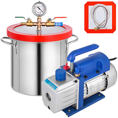 2 Gallon Vacuum Chamber Degassing Silicone Kit 3CFM Vacuum Pump 54L/Min 1 Stage