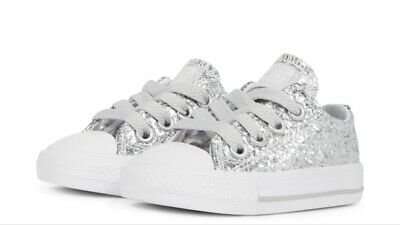 36e9c542fbdf Infant Toddler Girls Converse All Star Ox Silver Glitter Trainers shoes  Size 6