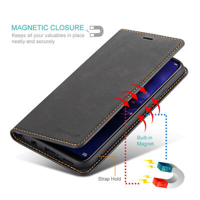 For Samsung Galaxy A8 A7 A6 2018 Leather Magnetic Flip Stand Wallet Case Cover