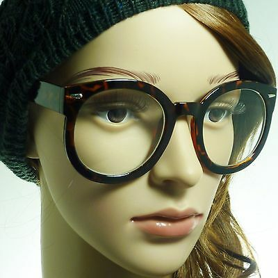 9fe7898d68 RETRO Oversized Round Thick Nerd Frame Trendy Clear Lens Eye Glasses  TORTOISE
