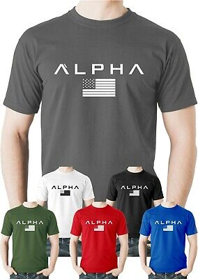 ALPHA Flag T Shirt Gym Athletic Team Bodybuilding Top Training MMA UFC Workout