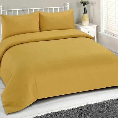 Brentfords Mustard Duvet Cover and Pillowcase Bedding Set Plain Dye Ochre Yellow