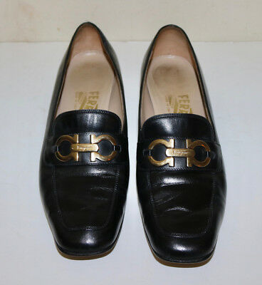 4bd6707d33a Salvatore Ferragamo black kitten heel metal logo loafer shoes 7.5 AA