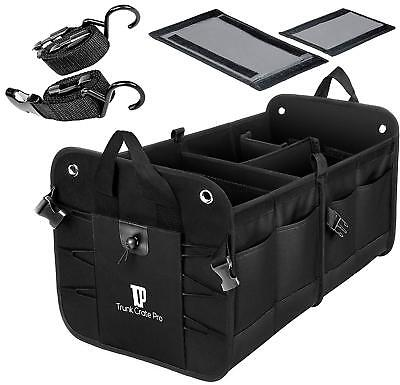 Trunkcratepro Collapsible Portable Multi Compartments Trunk  Black / 2 day shipp