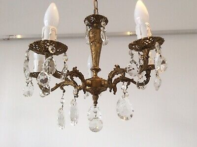 Vintage Cast Bronze and Crystals 5-arm French Chandelier, c1940s.
