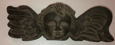 """Antiques Carved Wood Cherub Plaque Corbel Angel Early Estate 15"""""""