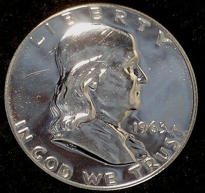 """1963-P 50C Franklin Half Dollar luct 90% Silver """"Gem Proof"""" 50 Cents Shipping"""