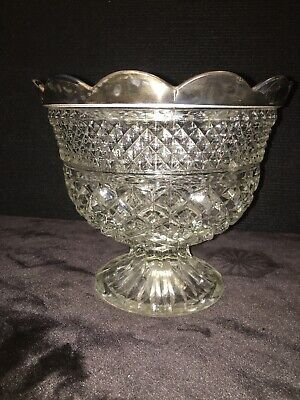 Antique Cut Crystal Scalloped Silver Rimmed Footed Serving Bowl Diamond Pattern