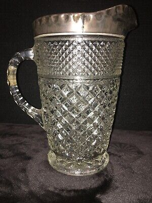 Anchor Hocking Wexford Crystal Silver Plated Water Pitcher Diamond Pattern