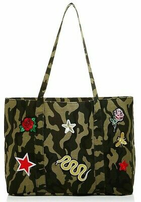 Camouflage Army Green Large CAMO Shoulder TOTE Bag EMBROIDERED Patches AQUA ec5fb09c33721