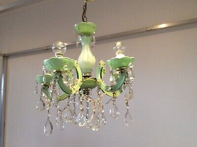 Vintage Pretty 'Peppermint' Marie Therese Crystal 5-arm French Chandelier, 1940s