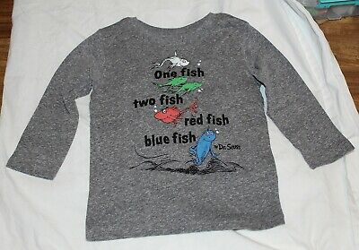 New Baby Long Sleeve Shirt Dr Seuss One Fish Two Fish Size 24 Month Gray