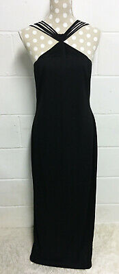2545f362881 Joseph Ribkoff Black Long Evening Gown Maxi Dress UK 14 Strappy Strap Detail