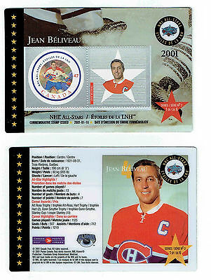 2001 Canada Post NHL All-Stars, Canadiens' Jean Beliveau Laminated Stamp Card