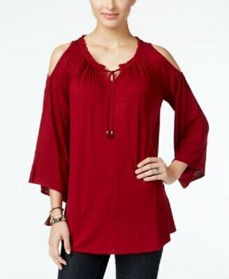 9bf92a8fae49e Style Co Cold-Shoulder Peasant Top Deep Scarlet M  19