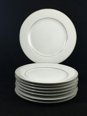 "8 Carlton Japan Plymouth 303 White Floral 6 3/8"" Bread Butter Plates Silver Trim"