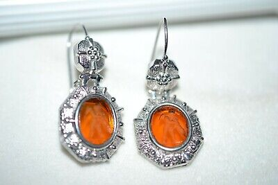 Tagliamonte 925Ss*Earrings*Etruscan Drop*Citrine Intaglio*Cupid*High End