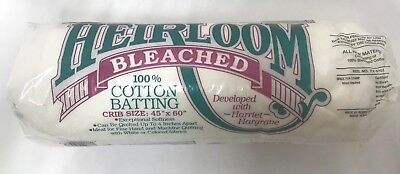 """Hobbs Heirloom Bleached 100%Cotton Batting Crib Size 45"""" x 60"""" QUILTING PROJECTS"""